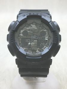 CASIO◆クォーツ腕時計・G-SHOCK/デジアナ/ラバー/ブラック/GA-100CF-1AJF