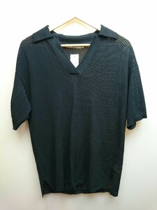 MOUSSY◆20SS/MESH BIG KNIT POLO/ポロシャツ/FREE/レーヨン/BLK