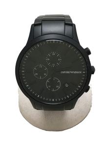 EMPORIO ARMANI◆クォーツ腕時計/アナログ/BLK/BLK