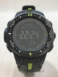 CASIO◆ソーラー腕時計・PROTREK/デジタル/プロトレック/黒/ライムグリーン/PRW-3000-2DR