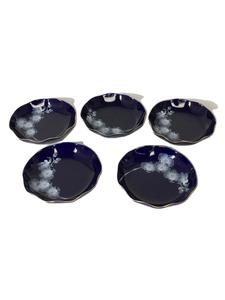 香蘭社◆ルリ胡蝶蘭/フルーツ皿/5点セット/ネイビー/有田焼