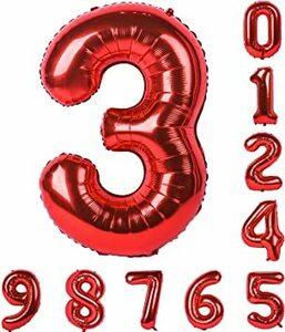 赤 数字3 赤い数字バルーン誕生日パーティ40インチ0-9(ゼロナイン)マイラー装飾のアラビア数字3