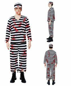 ブラッディプリズナー メンズ 血糊付 囚人服 囚人 コスチューム コスプレ 衣装 ハロウィン 未使用