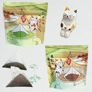 新品 未使用 ティ-バッグ ねこ茶 7-6Q 可愛い 猫のフィギュア(1個) セット 誕生日 プチギフト (深蒸し茶・ほうじ茶) お茶 釣り