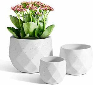 ホワイト T4U 12CM+9CM+6.5CM 植木鉢 おしゃれ 観葉植物鉢 多肉植物 プランター サボテン鉢 陶器製 マット