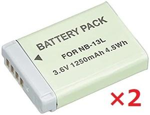 【送料無料】2個セット Canon キャノン NB-13L 1250mAh バッテリー 保護回路内蔵 バッテリー残量表示可 リチウムイオン充電池 互換品