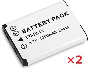 【送料無料】2個セット ニコン Nikon EN-EL19 バッテリー 1200mAh 充電池 電池 コンパクトデジカメ デジタルカメラ 互換品