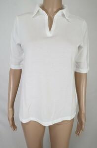 *少々訳あり92%OFF新品 PANTELLERIA 日本製 半袖 ポロシャツ ボタンなし コットン 定価16,500円(税込)サイズ46(L-XL) ホワイトLCT790