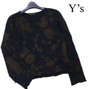 Y's ワイズ ヨウジヤマモト 花柄 フラワー プリント♪ 長袖 ウール ニット カットソー セーター Sz.3 レディース D1T01574_A#L