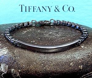 ★廃盤美品 Vintage Black コートモデル★Men's TIFFANY & Co.19ベストサイズ!★TIFFANY リンク I.D ベネチアン 925 SILVER ブレスレット