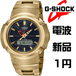 1円 高級G-SHOCKフルメタル電波ソーラー最新機種 重厚でソリッドな質感200m防水クロノグラフ 腕時計 AWM500GD-9A 逆輸入 メンズ 新品未使用