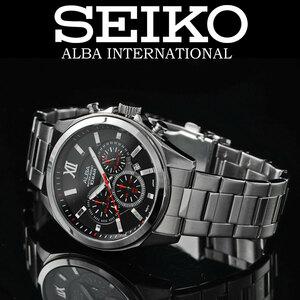 最後1本 1円 セイコーALBA逆輸入モデル精悍ブラックフェイス100m防水クロノグラフ新品メンズ激レア入手困難アルバ日本未発売SEIKO腕時計