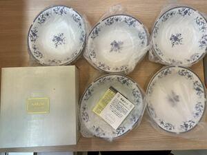 T NARUMI ナルミ カレー&パスタ皿セット ペレーネブルー 5枚揃 洋食器 プレート 皿 盛皿 23.5㎝×21㎝ 花柄 食器 未使用保管品