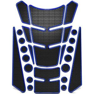 送料無料! 3D ゲル タンクパッド シール [ブルー] 汎用 オートバイ バイク モーター 燃料 ガソリン プロテクター ステッカー デカール