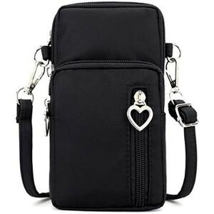 韓国 ハート ミニポーチ 黒 ブラック ショルダーバッグ ポシェット お財布