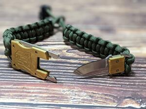 アウトドア ナイフ ブレスレット型ナイフ EDCナイフ キャンプ 登山 腕時計型 釣り サバイバルナイフ グリーン