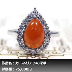 [1 yen start] Ikoso Gare | Grained natural carnelian 10.00ct Diamond K14WG finish Ring No. 17 | Writer mono | real guarantee | NGL discrimination correspondence