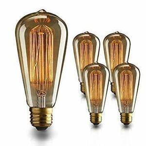 □残1□4個 エジソン電球 60W 110V ST64電球調光可能 E26/ E27口金 ヴィンテージエジソンランプ タングステンフィラ