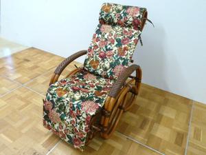 未使用品 KAZAMA ラタン リクライニング チェア W600×D1480×H930mm オットマン 籐 家具 ソファ 椅子 リクライナー アジアン家具 カザマ