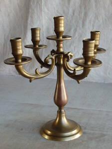 フランスアンティーク 5灯 キャンドルスタンド 真鍮 ブラス ホルダー 蝋燭立て 燭台 蚤の市 ブロカント ゴールド3508