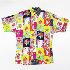 90s VERSACE JEANS COUTURE FLORAL PATCHWORK SHIRT VINTAGE ヴェルサーチ ジーンズ クチュール フラワー パッチワーク シャツ ビンテージ