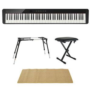 s22870 CASIO Privia PX-S1100 BK 電子ピアノ 4本脚型キーボードスタンド キーボードベンチ ピアノマット(クリーム)付きセット
