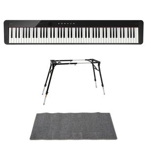 s22865 CASIO Privia PX-S1100 BK 電子ピアノ 4本脚型キーボードスタンド ピアノマット(グレイ)付きセット