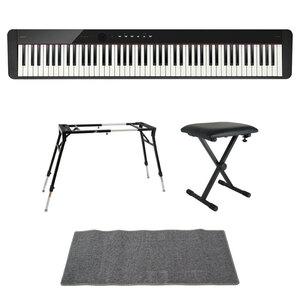 s22871 CASIO Privia PX-S1100 BK 電子ピアノ 4本脚型キーボードスタンド キーボードベンチ ピアノマット(グレイ)付きセット