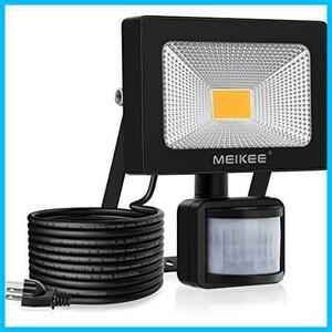 MEIKEE センサーライト 人感 10w LEDフラッドライト 3000K 900LM PIR屋外センサー投光器 防水照明 駐車場 玄関灯 倉庫 町内の防犯灯