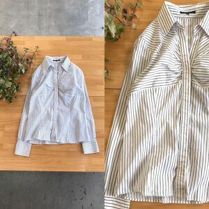 美品 23区 ニジュウサンク クレイジーストライプスキッパーカラーシャツトップス 比翼仕立てブラウスカットソー 日本製 40 ホワイト白色系