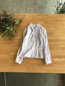 美品 NEWYORKER ニューヨーカー フリルカラーデザインシャツブラウス シンプルフレアトップスカットソー コットン混 11 パープル紫色系