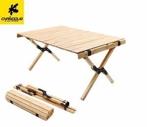 CHANODUG ウッドロールテーブル ケース付 キャンプテーブル アウトドアローテーブル キャンピングロールウッドテーブル