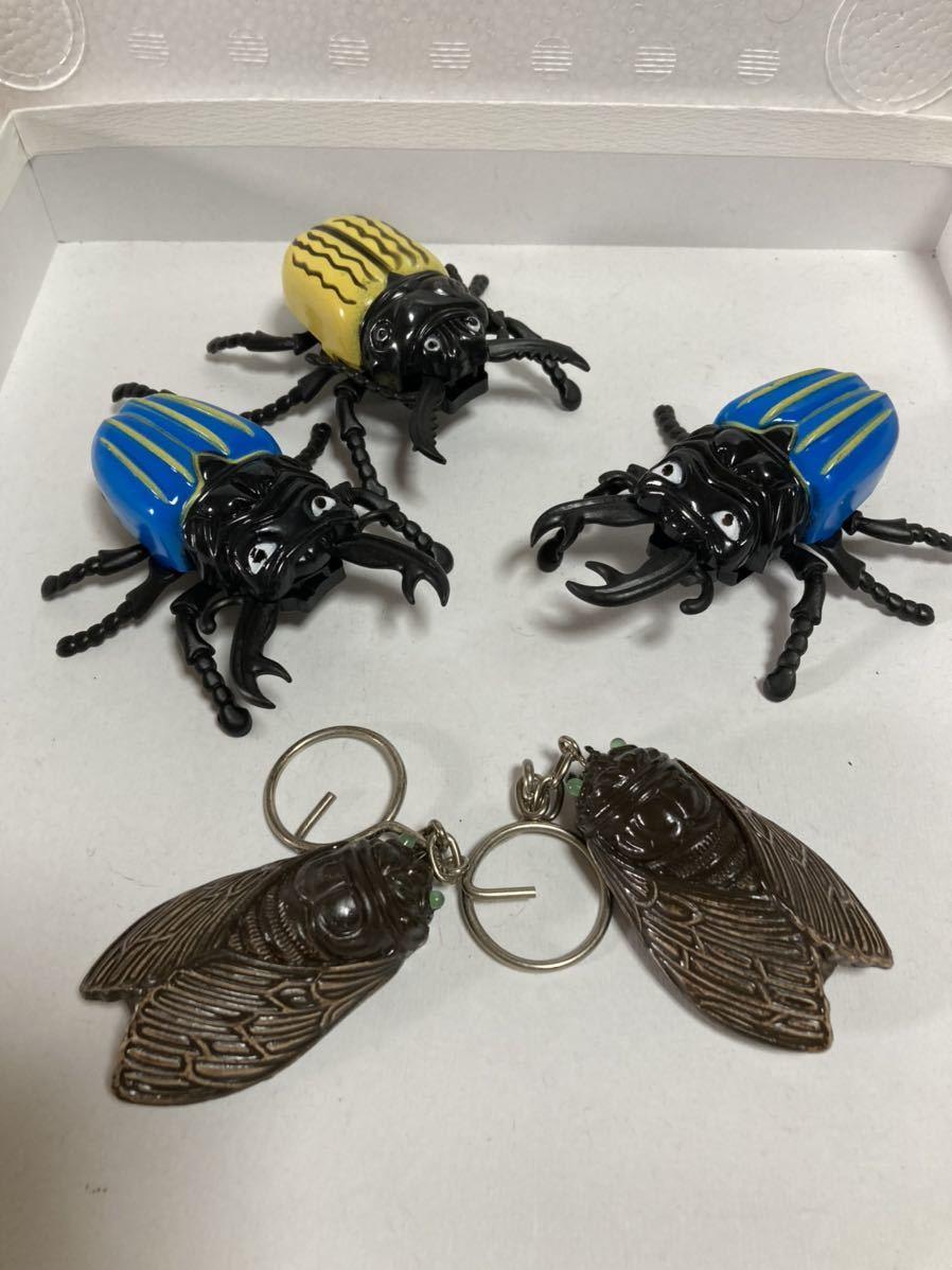 昆虫 ゼンマイ式玩具 クワガタ セミ ストラップ D