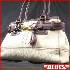 即決★COACH★レザーハンドバッグ オールドコーチ メンズ 白 茶 本革 トートバッグ 本皮 かばん 鞄 レディース 手提げかばん