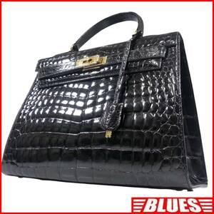 即決★N.B.★レザーハンドバッグ メンズ 黒 クロコ型押し 本革 トートバッグ 本皮 かばん 鞄 レディース 鍵付き 手提げかばん