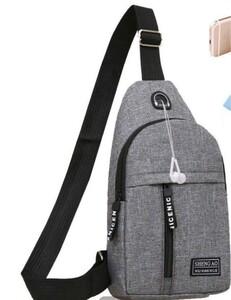 ボディーバッグ 斜め掛け メンズボディバッグ      ボディバッグ USBポート搭載 ケーブル付き メンズ シンプル 軽量