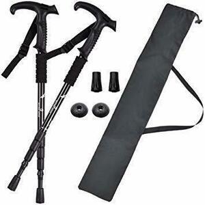 新品黒 BEATON JAPAN トレッキングポール ウォーキングポール T型 登山 ストック ステッキ杖 軽量 2Y5VC