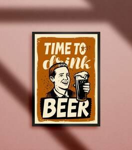 アメリカン レトロ ビール パブ バー スナック ドリンク メニュー ポップアート2 カフェ A4アートポスター