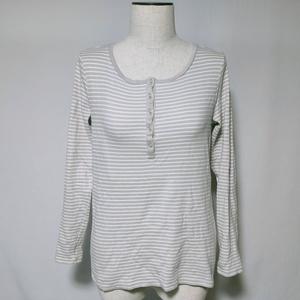 ユニクロ UNIQLO Tシャツ ロンT カットソー ボーダー 柄 ストレッチ 長袖 XL 灰色 グレー レディース /W