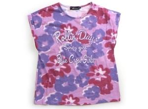 ブルークロス BLUE CROSS Tシャツ・カットソー 150 女の子 紫・白・花柄 子供服 ベビー服 キッズ(821563)