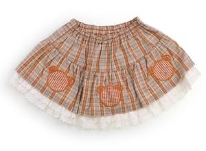 べべ BeBe スカート 80 女の子 ベージュ・オレンジ・チェック 子供服 ベビー服 キッズ(819298)