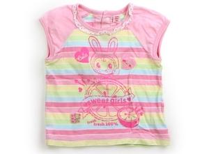 メゾピアノ mezzo piano Tシャツ・カットソー 90 女の子 ピンク、水色、黄緑、黄色 子供服 ベビー服 キッズ(820009)