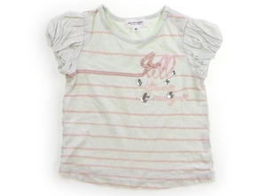ジルスチュアート JILL STUART Tシャツ・カットソー 90 女の子 黄緑・ストーン・ラメピンクボーダー 子供服 ベビー服 キッズ(823877)