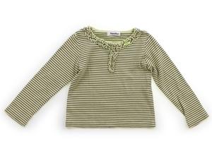 ファミリア familiar Tシャツ・カットソー 110 女の子 黄緑チャコールボーダー・フリル 子供服 ベビー服 キッズ(827729)