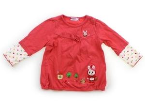 ミキハウス miki HOUSE Tシャツ・カットソー 90 女の子 ピンク・白・カラフルドット柄 子供服 ベビー服 キッズ(829165)