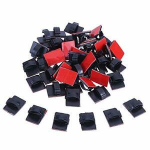 LOKIPA 40pcs 黒 ケーブルクリップ 配線止め コードクリップ 収納 ケーブル固定具 テープ有り 車用 家庭用