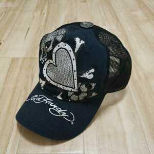 EdHardy エドハーディー メッシュキャップ 帽子 ブラック 黒 ラインストーン スワロフスキー スカル ハート メンズ