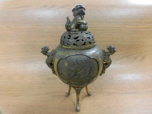 ☆ 獅祥 作 真鍮製 鳳凰文 獅子蓋 獣耳 三足 香炉 25cm/1747g ☆