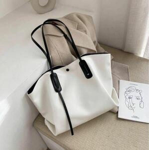 レザートートバッグ ソフトレザー トートバッグ ハンドバッグ 大容量 かばん ショルダーバッグ ホワイト ブラック 白 黒