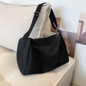 ショルダーバック キャンバスショルダー キャンバスバッグ ユニセックス シルプル ブラック 黒 ボディーバッグ ボディバッグ